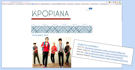 B1A4 Kpopiana exhibit with Digital Documentation links.