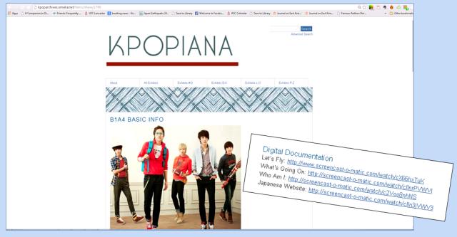 B1A4 Kpopiana exhibit with Digital Documentation links.