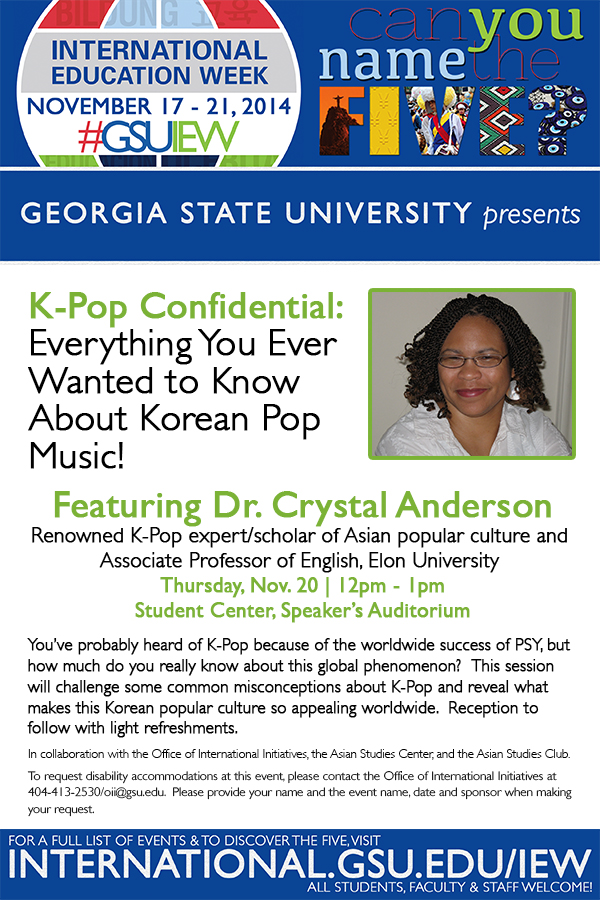 TALK: K-pop Confidential @ Georgia State University on 11/20/2014