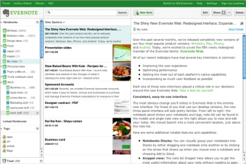 The Evernote interface. Credit: Evernote.